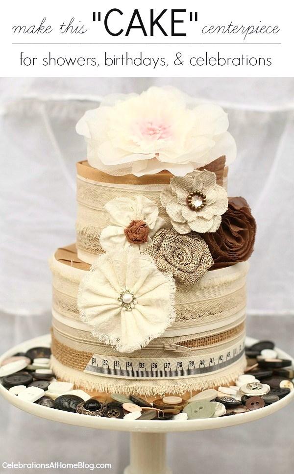 "diy ribbon ""cake"" centerpiece"
