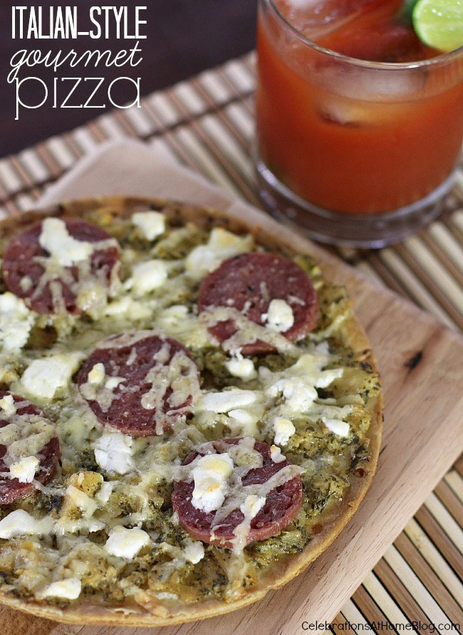 Gourmet Italian Pizza with bloody mary