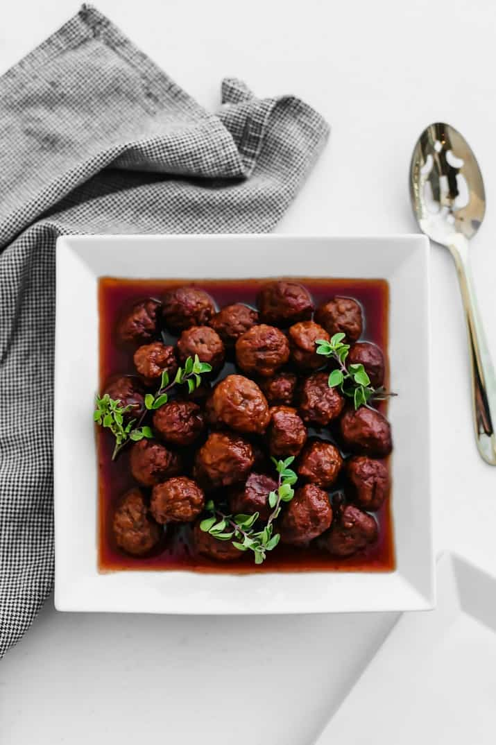 cocktail meatballs in bourbon sauce overhead view