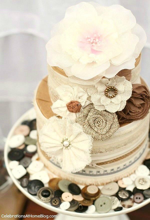 diy shabby chic cake centerpiece