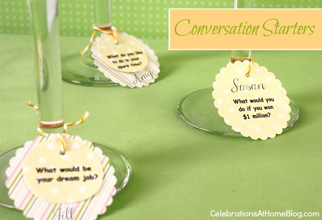 tips for hosting girls night in; conversation starter tags