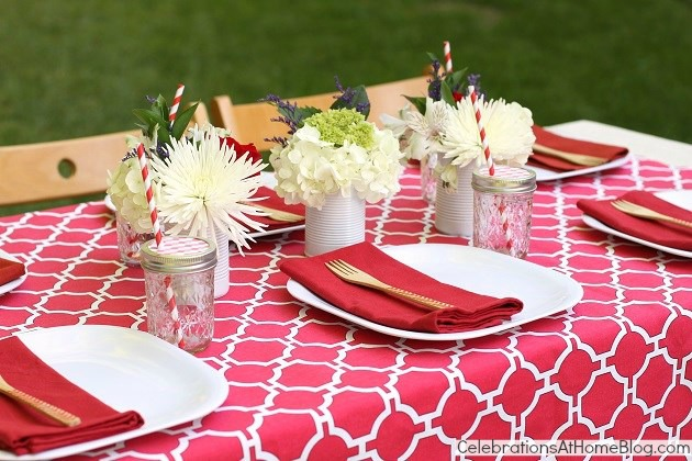 Summer cookout table setting