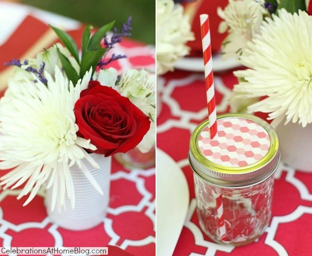 red and white table details
