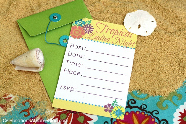 FREE Tropical Party printable invitation & tent cards