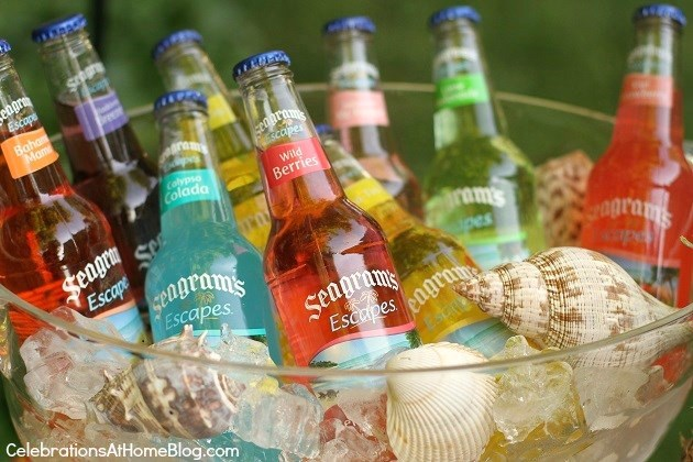 Add Shells to ice bucket full of tropical flavored Seagram's Escapes