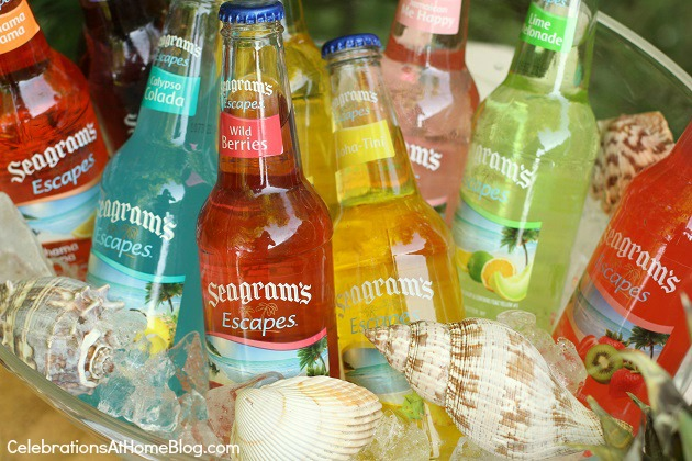 tropical flavored drinks - Add shells to ice bucket
