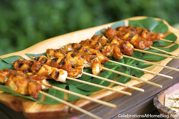 chicken satay for tropical theme party