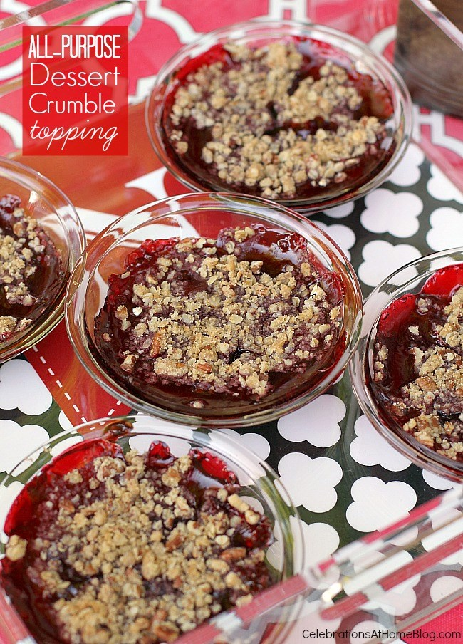 Make this all purpose dessert crumble topping and you can make a variety of cobblers or other fruity desserts.