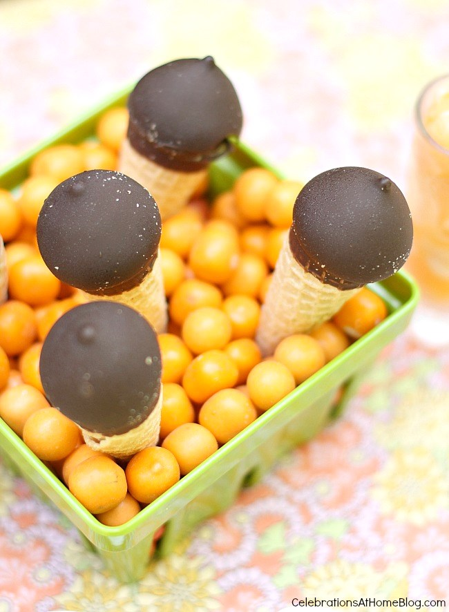 mini ice cream cones served tucked into candy gumballs