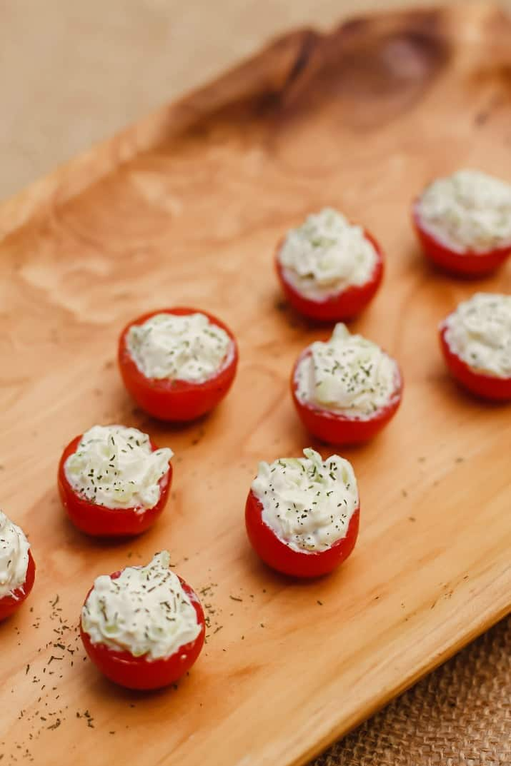 cherry tomatoes with benedictine filling party appetizers