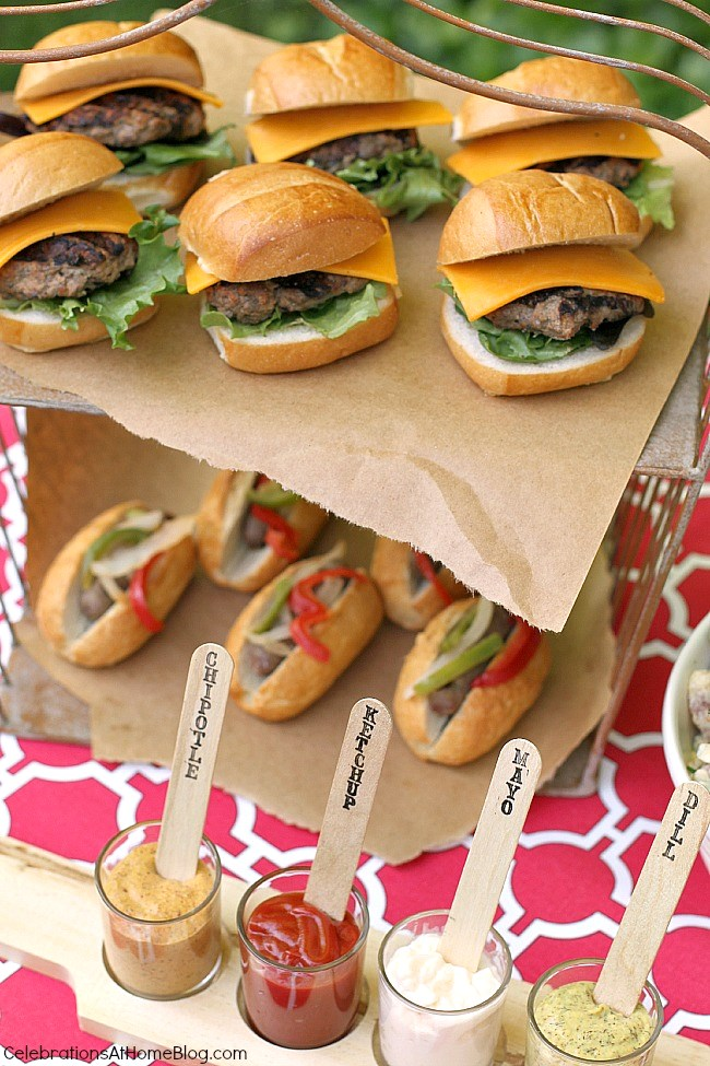 For your summer cookout, grill mini burgers and small sausage links so guests can have both without getting too full.