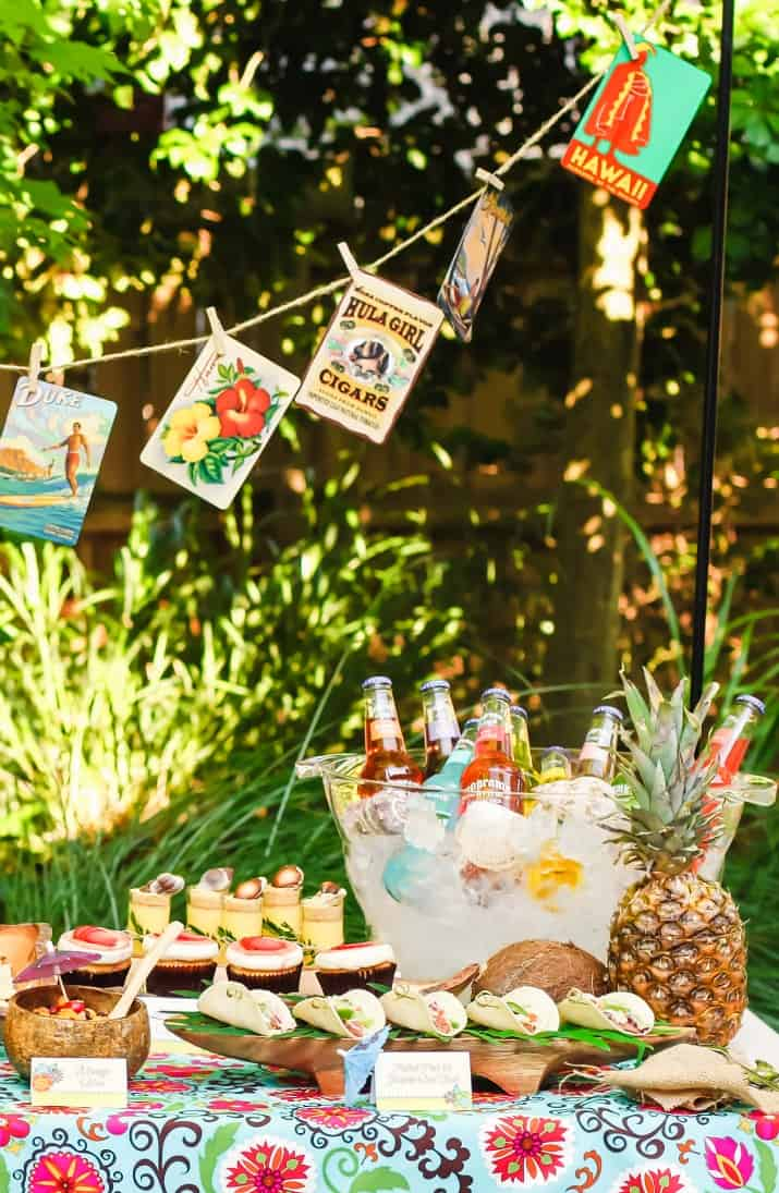 tropical party buffet