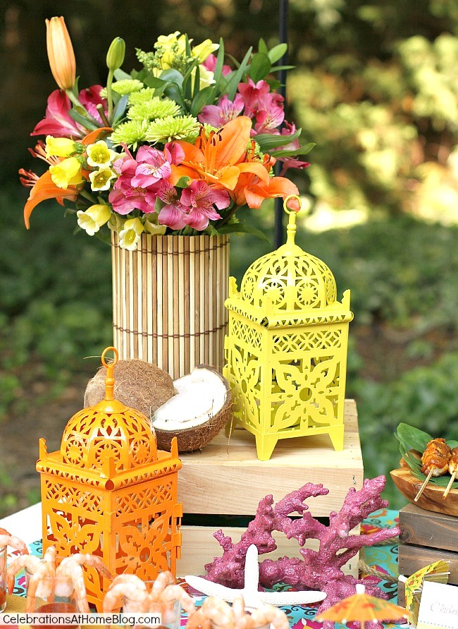tropical party centerpiece