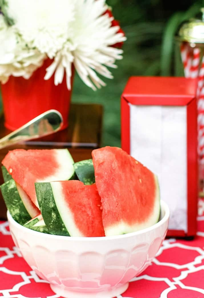 watermelon slices in a white bowl