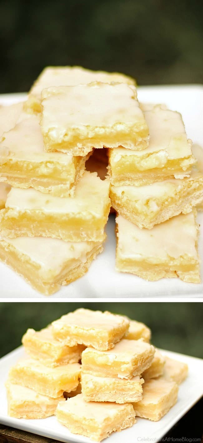 Get the BEST glazed Lemon Bars Recipe right here. This is a great summer dessert or tailgating treat.