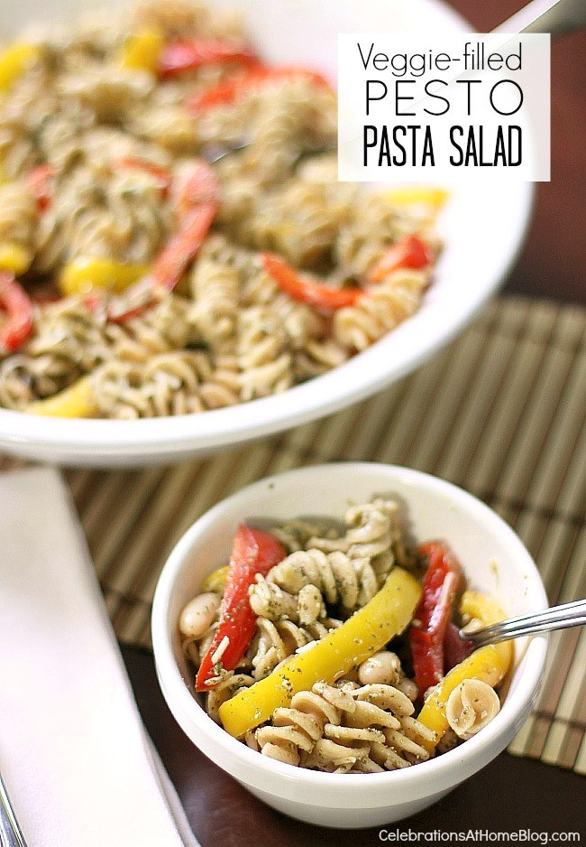 Make this delicious veggie pesto pasta salad for your next pot luck dish.