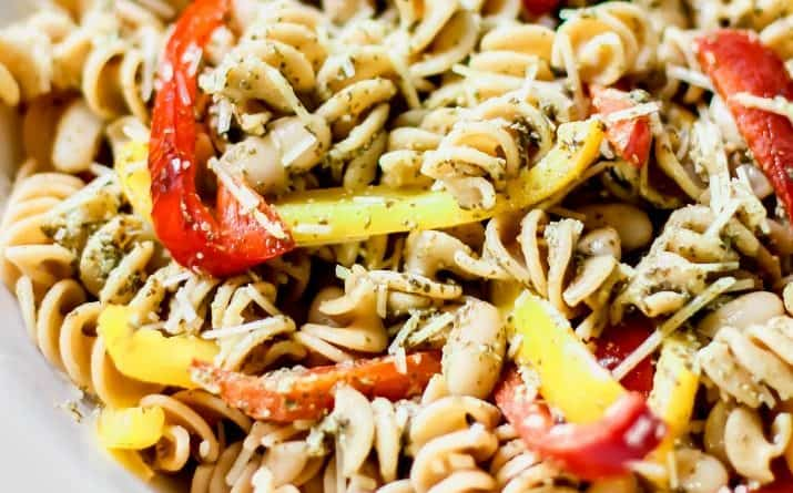 pesto pasta salad recipe card
