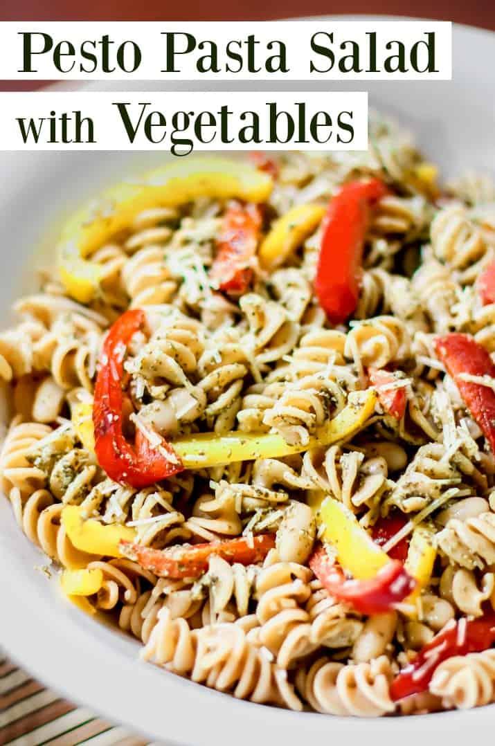 pesto pasta salad with vegetables