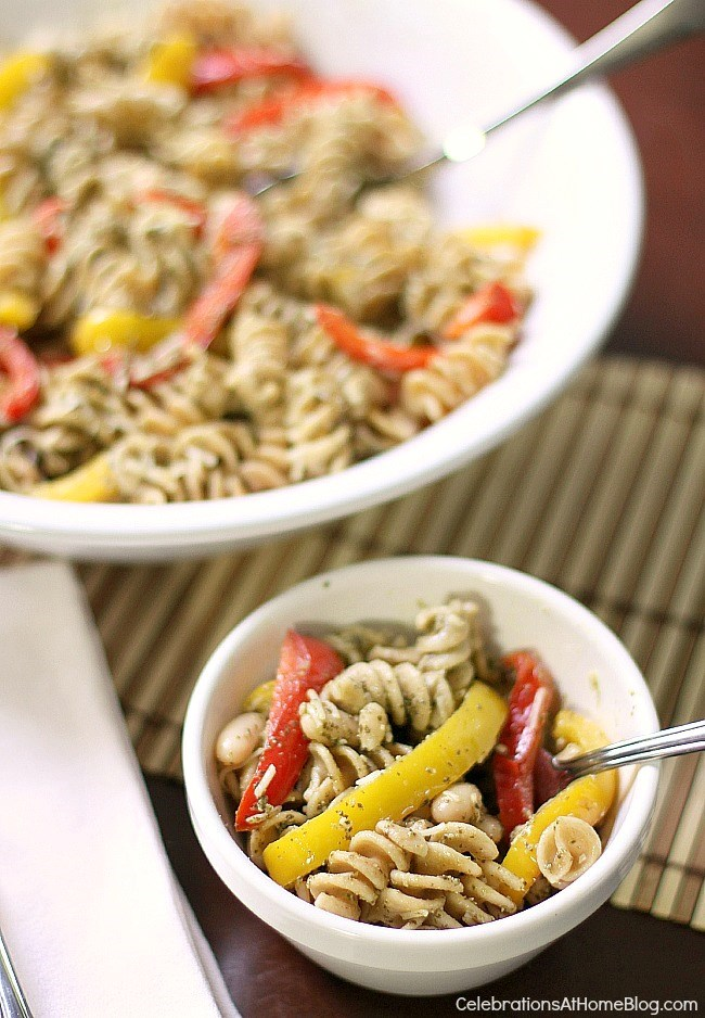 This delicious veggie pesto pasta salad is great for family meals or serving guests.