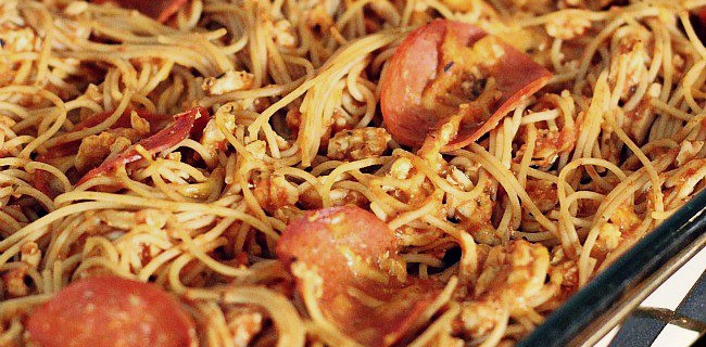 Baked Spaghetti Made Healthier - Celebrations at Home