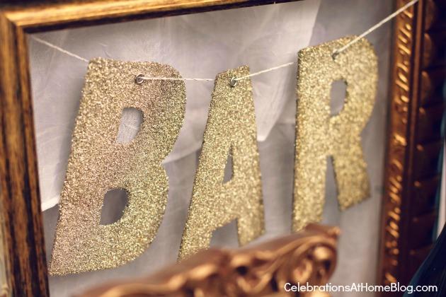 glitter letter bar sign
