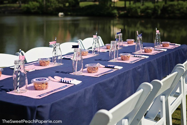 Pink and navy party table by Sweet Peach Paperie