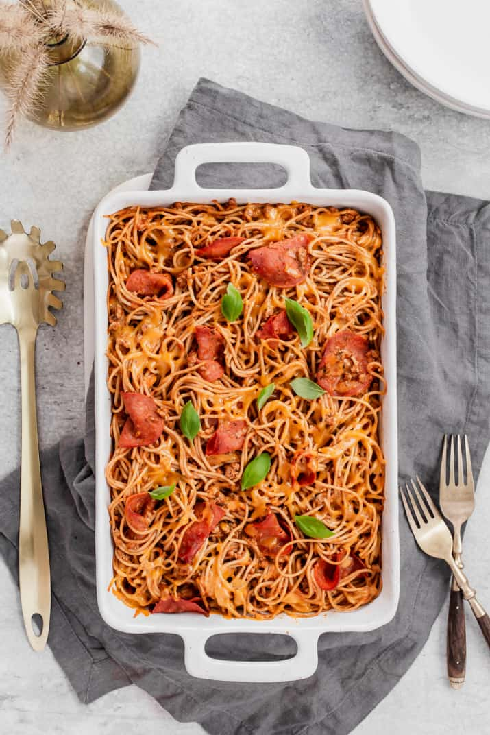 baked spaghetti in white dish