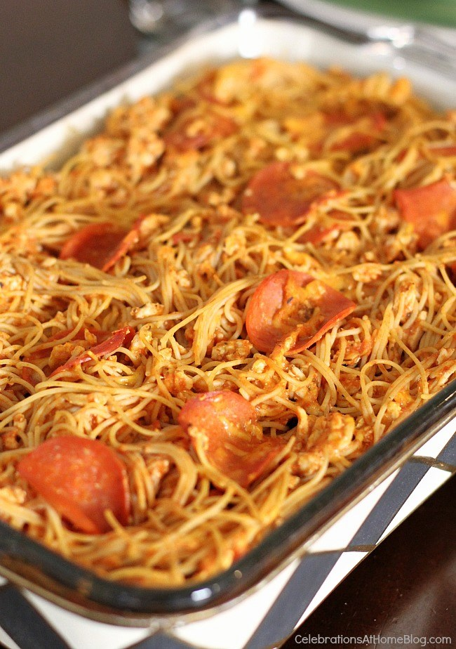 This baked spaghetti is made a little bit healthier so you don't have to feel guilty about serving it. No loss of flavor either!