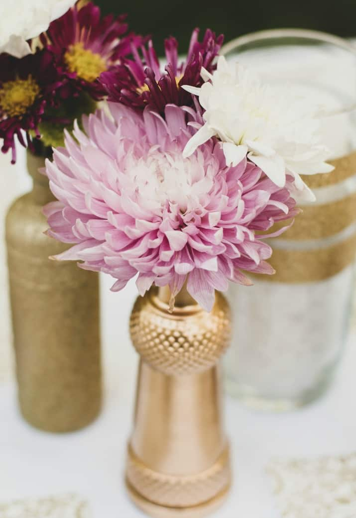 diy gold bottle vases