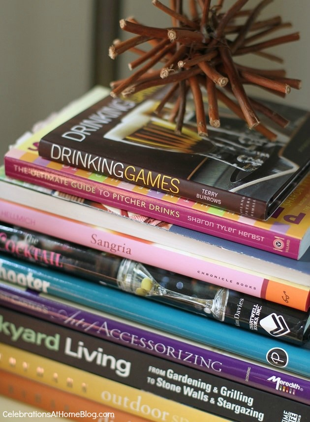 drink themed books on bar cart