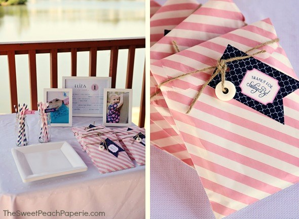 pink and navy party favors by Sweet Peach Paperie