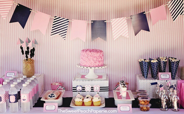 pink and navy party by Sweet Peach Paperie