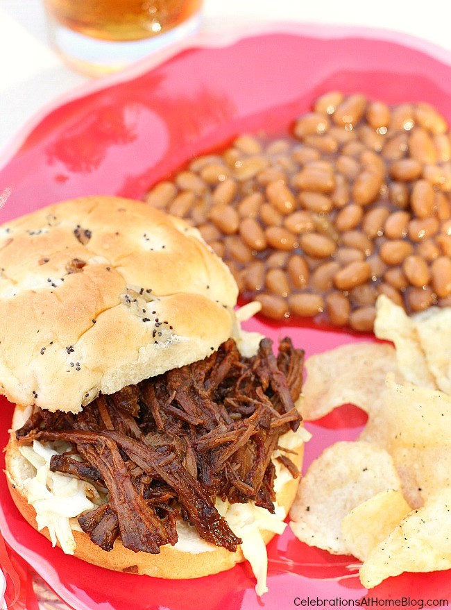 Make this slow cooker bbq beef for easy delicious sandwiches all year long. Serve for backyard parties or game day viewing and let the slow cooker do all the work.