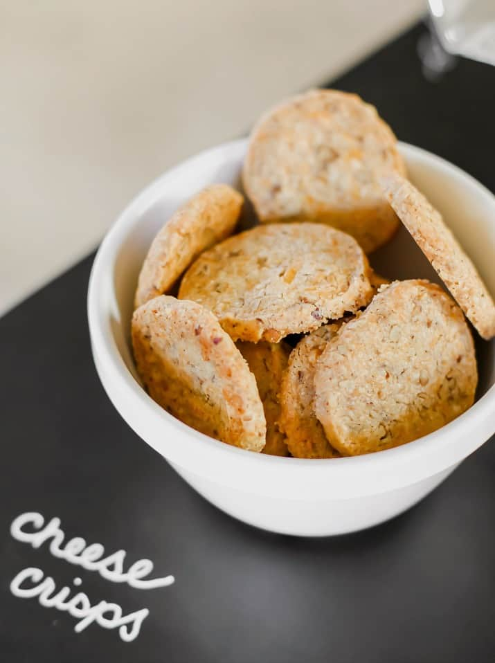 cheese crackers in white bowl