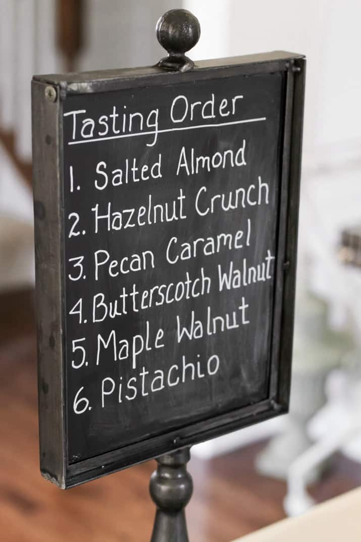 chocolate tasting chalkboard sign
