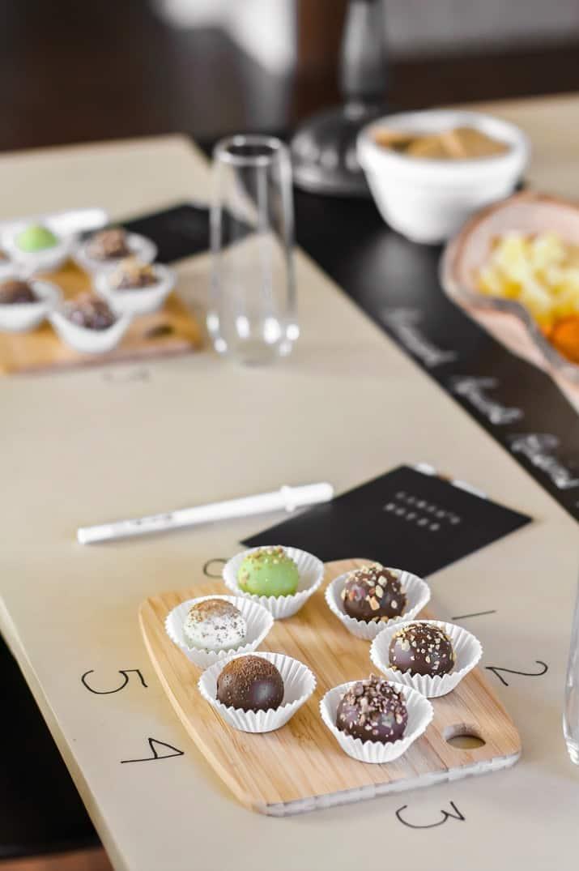 chocolate truffle tasting table