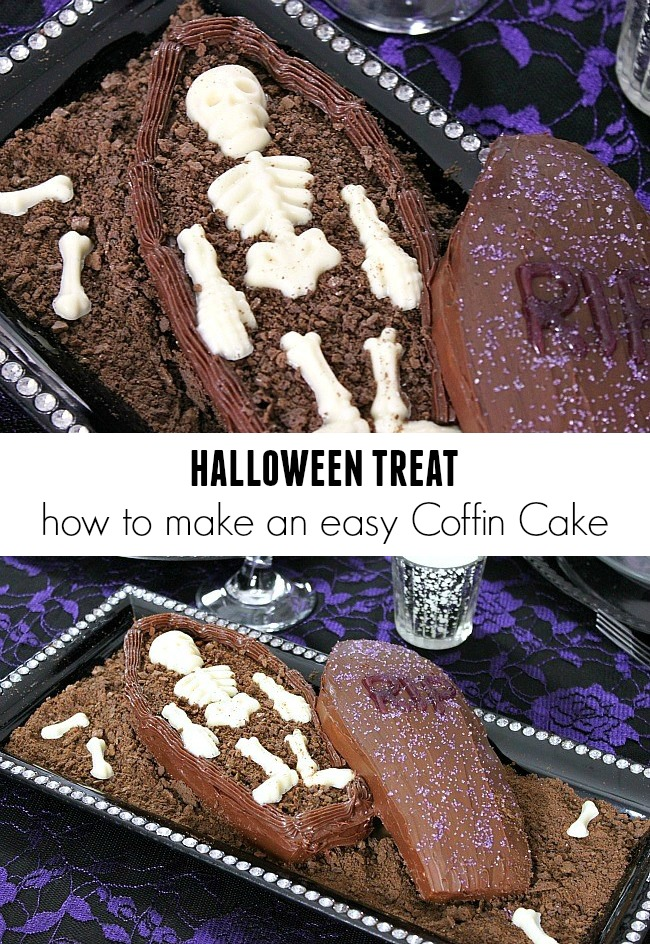 how to make a Halloween coffin cake dessert
