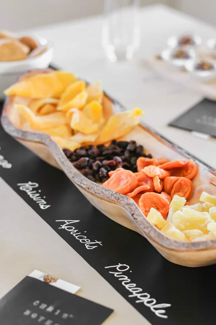 dried fruit in wood bowl