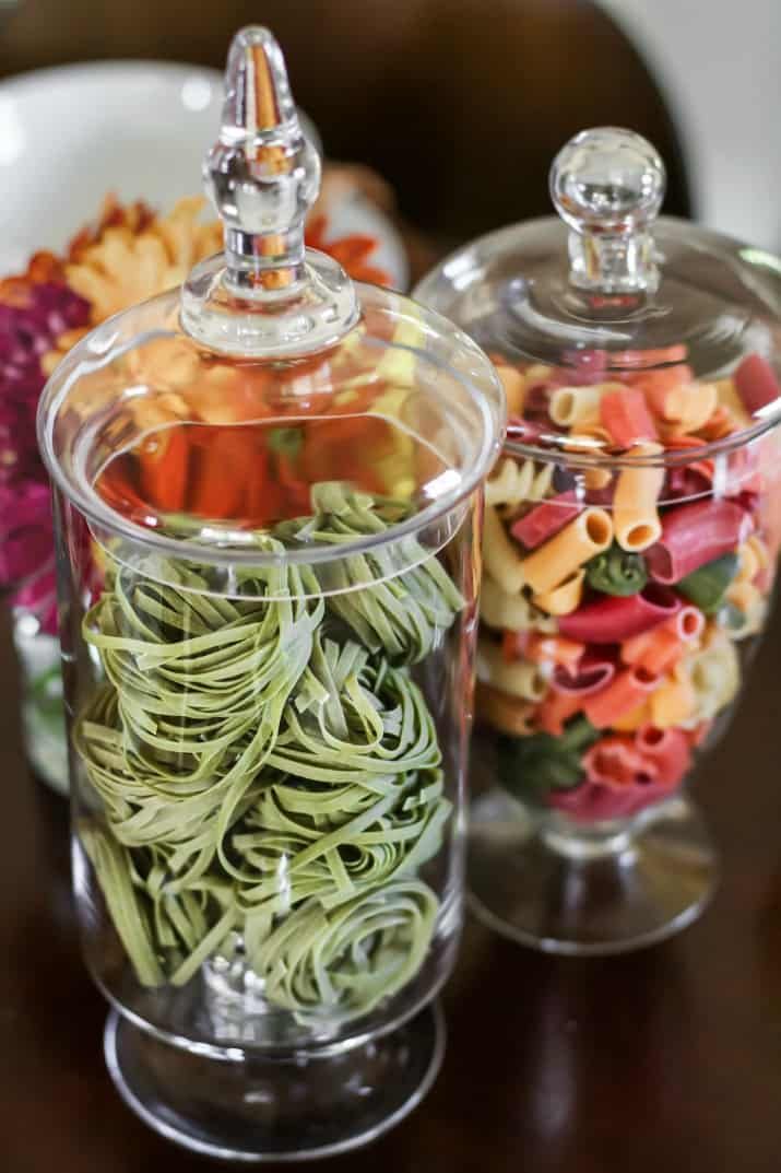 Italian Themed Dinner Party Ideas, centerpiece pasta in jars