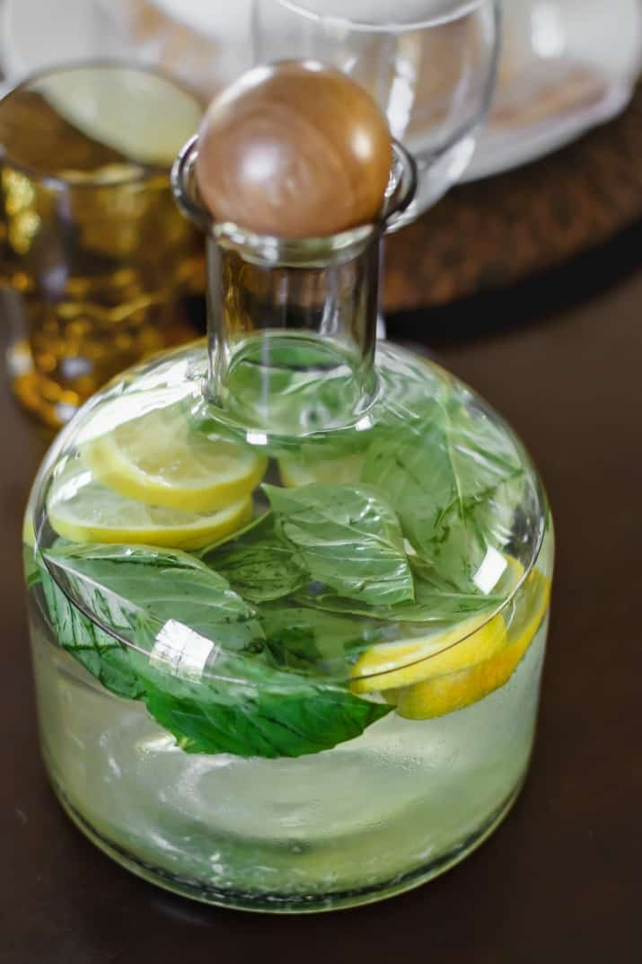 Italian Themed Dinner Party Ideas, basil lemon water