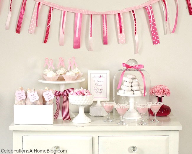 Here's your guide to host a pink party for breast cancer awareness. It includes decorating ideas, food, and drink recipes to get you started. pink dessert table