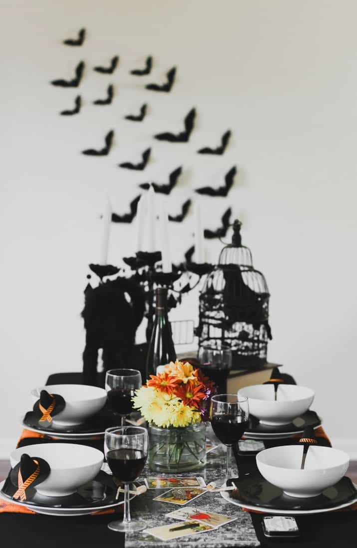 Halloween tablescape, dinner party witches night in