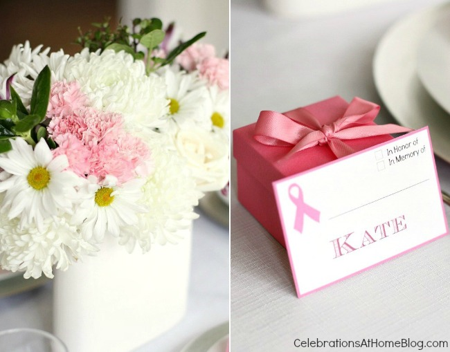 Here's your guide to host a pink party for breast cancer awareness. It includes decorating ideas, food, and drink recipes to get you started. pink flowers and name card