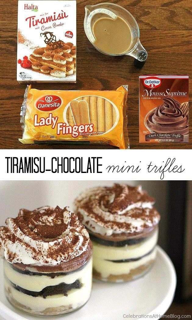 Mini tiramisu chocolate trifle recipe - quick and easy dessert for entertaining at home.