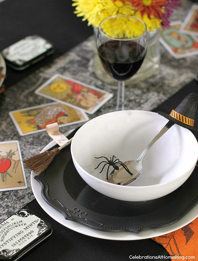 "Halloween party - ""witches night in"" theme for your best girl friends. witches place setting"