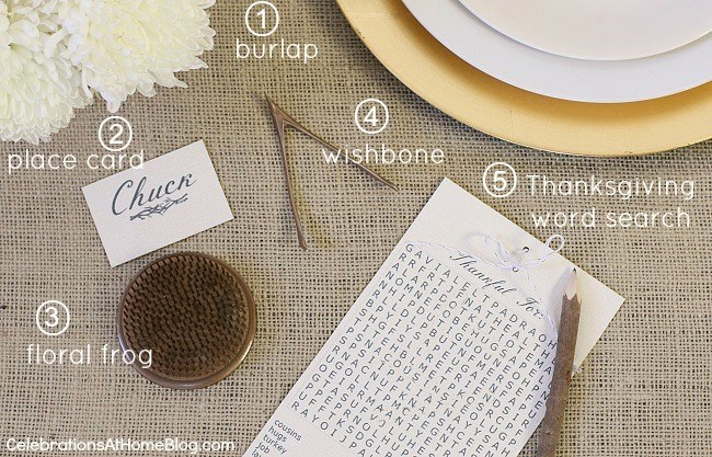 5 pieces to create a Thanksgiving place setting