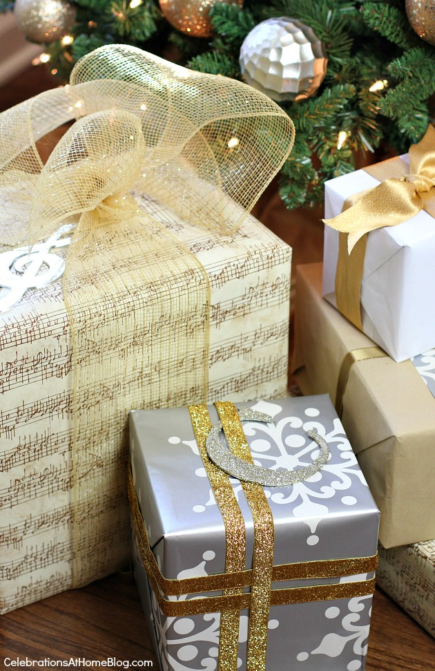 tips for decorating your Christmas tree, wrapped gifts under the tree.