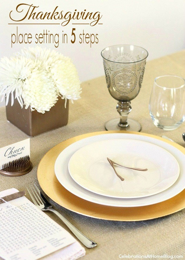 Thanksgiving place setting in 5 steps