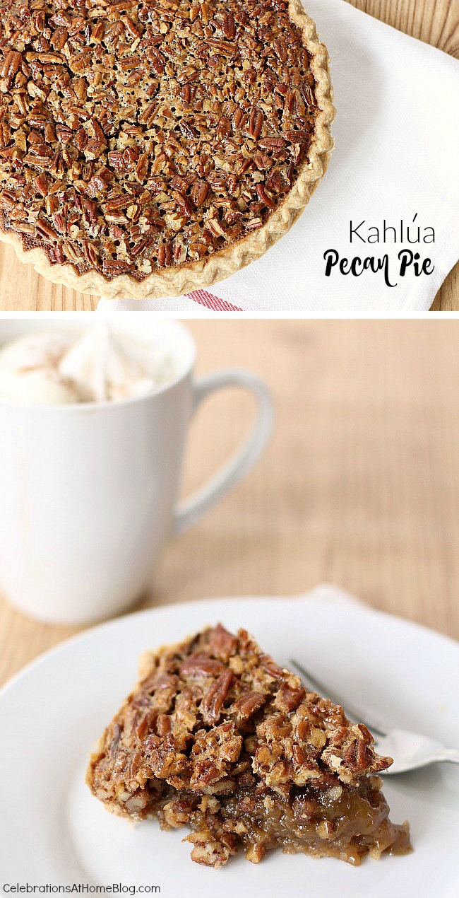 Make this Kahlúa pecan pie recipe for Thanksgiving dessert or Christmas dessert. It's delicious and decadent.
