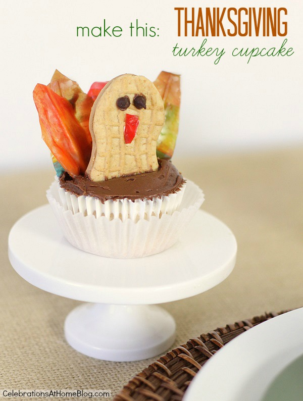make a Thanksgiving Turkey cupcake - Chris Nease {Celebrations At Home}